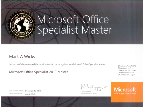 MOS Microsoft Office Specialist Master certificate